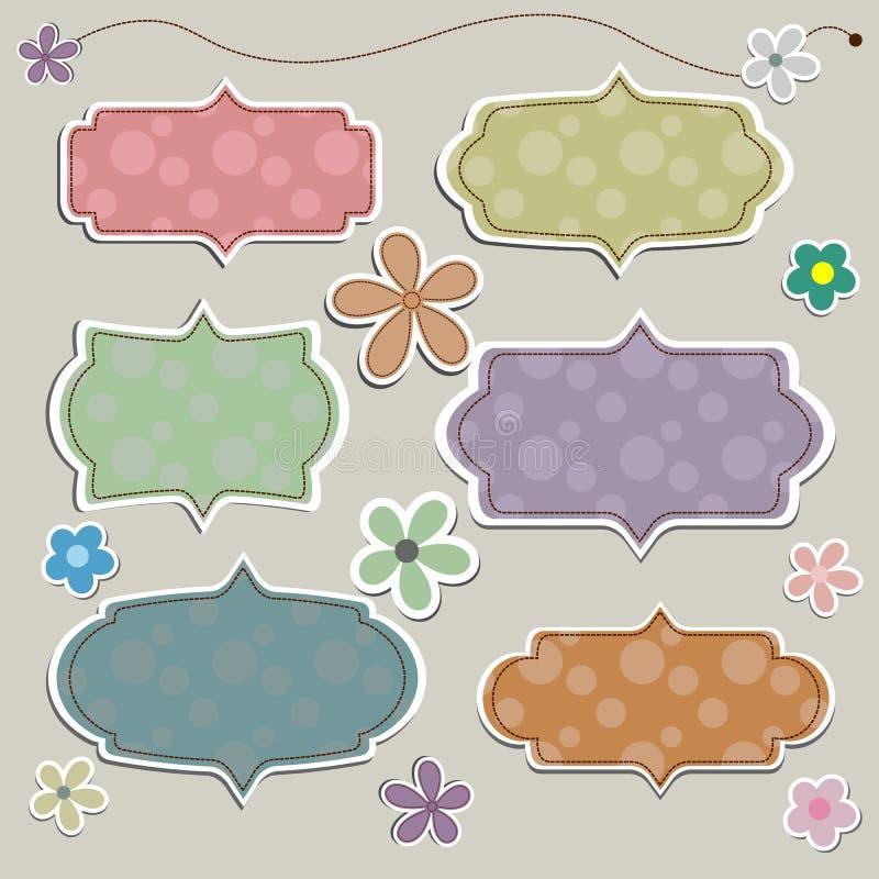 Insegna di carta nello stile d'annata o retro con il fiore illustrazione di stock