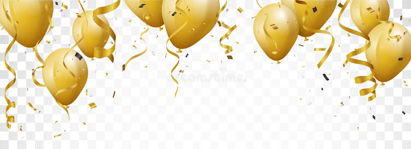 Insegna di celebrazione con i coriandoli ed i palloni dell'oro illustrazione di stock