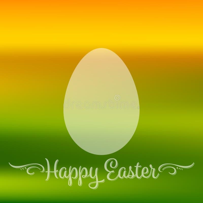 Insegna di citazione di Pasqua o cartolina d'auguri felice con forma dell'uovo nei colori freschi della molla Immagine di vettore royalty illustrazione gratis