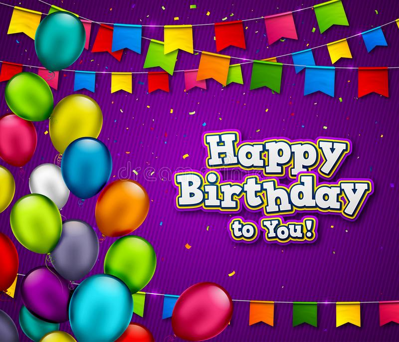 Insegna di compleanno di vettore con i coriandoli ed i palloni multicolori Fondo di celebrazione con il titolo di buon compleanno illustrazione vettoriale