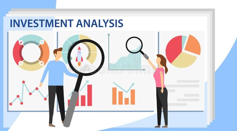 Insegna di concetto di analisi degli investimenti con i caratteri Soluzioni di commercio per gli investimenti, concetto di analis illustrazione vettoriale