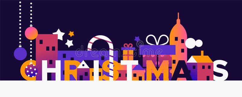 Insegna di concetto di Buon Natale della città di inverno illustrazione vettoriale
