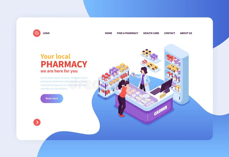 Insegna di concetto della farmacia illustrazione di stock