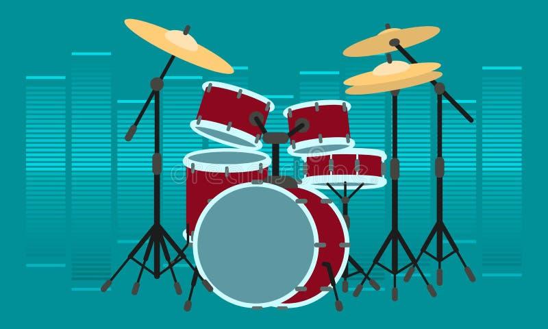Insegna di concetto dello strumento del batterista, stile piano illustrazione vettoriale