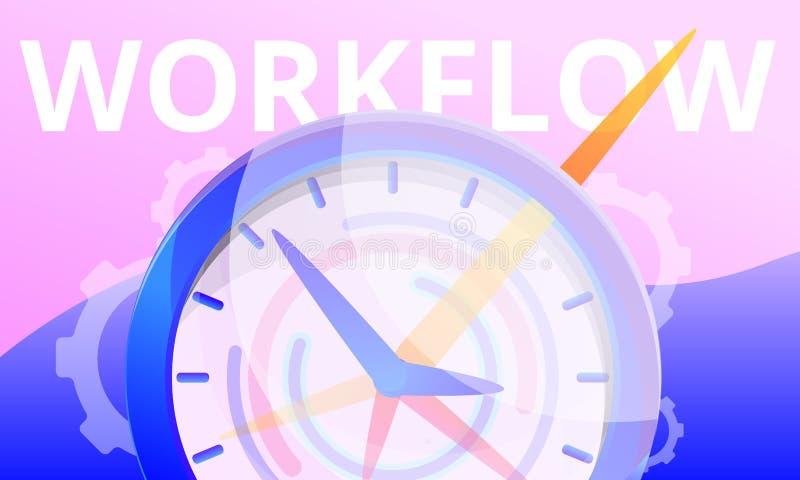 Insegna di concetto di flusso di lavoro, stile del fumetto illustrazione di stock