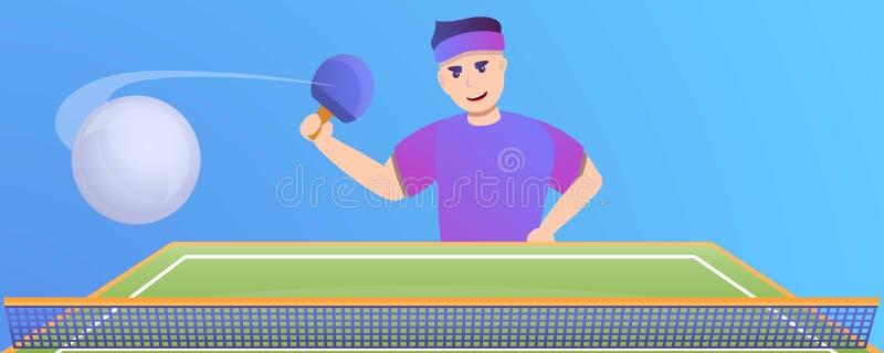 Insegna di concetto di ping-pong del gioco dell'uomo, stile del fumetto royalty illustrazione gratis