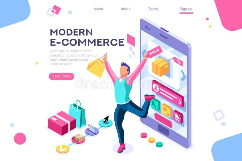 Insegna di consumismo dell'interfaccia di commercio elettronico del compratore illustrazione di stock