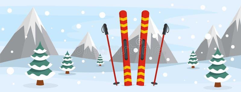 Insegna di corsa con gli sci, stile piano illustrazione di stock