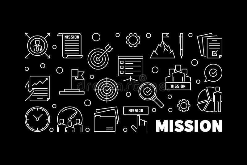 Insegna di dichiarazione di missione nello stile del profilo - illustrazione di vettore illustrazione di stock