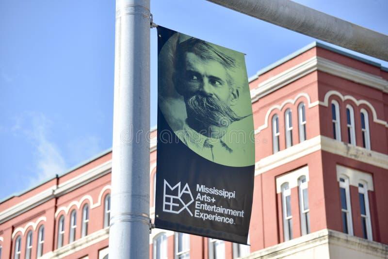 Insegna di esperienza di arti e di spettacolo del Mississippi, meridiano, Mississippi fotografia stock