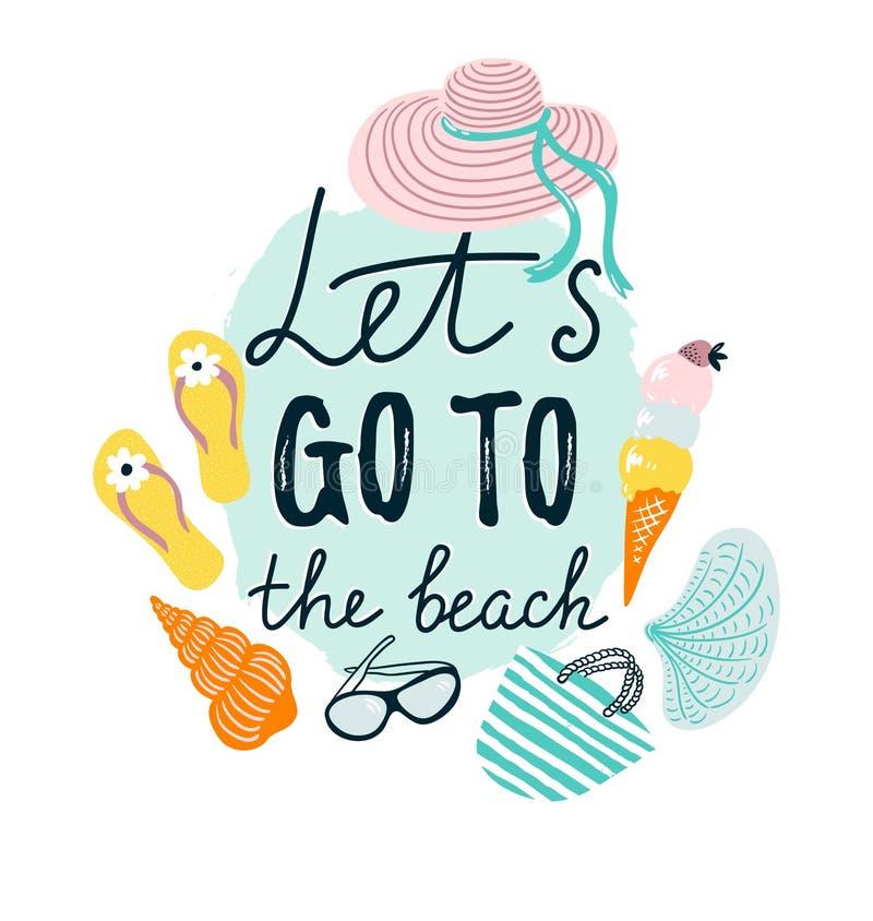 Insegna di estate con gli accessori della spiaggia Illustrazione disegnata a mano di vettore illustrazione vettoriale