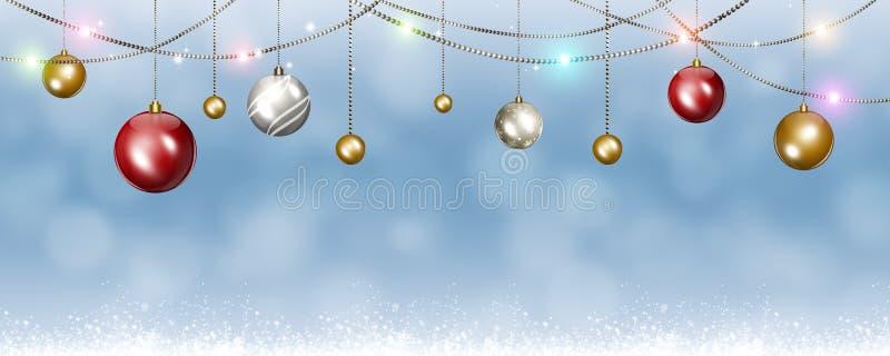 Insegna di festa delle palle di Natale illustrazione di stock