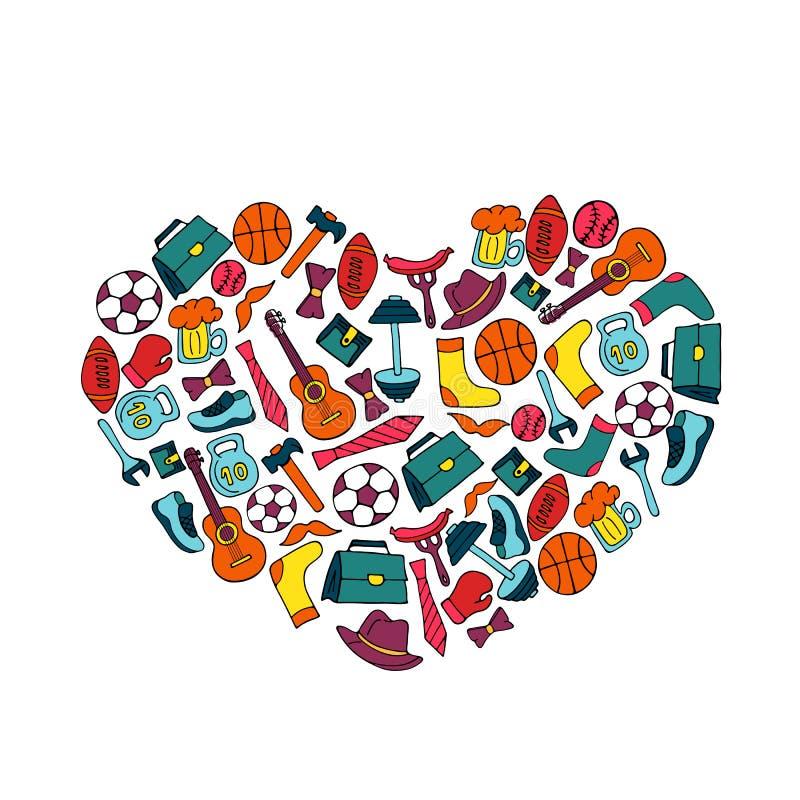 Insegna di festa di giorno di padri sotto forma di un cuore nello stile di scarabocchio Stile di vita, articolo sportivo, vestiti illustrazione vettoriale