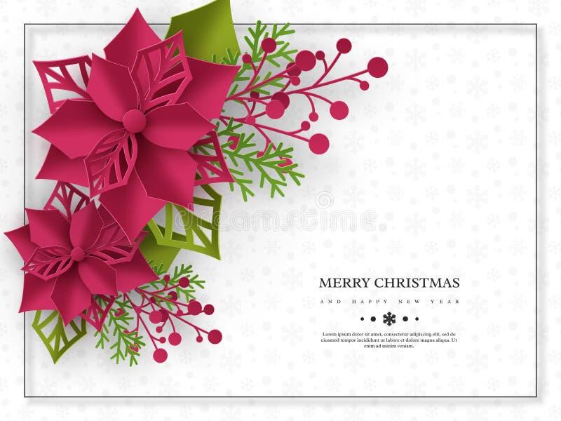 Insegna di festa di Natale stella di Natale di stile del taglio della carta 3d con le foglie Fondo bianco con il testo di saluto  illustrazione di stock