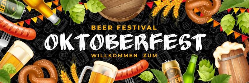 Insegna di festival della birra di Oktoberfest fotografie stock