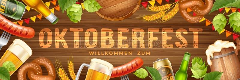 Insegna di festival della birra di Oktoberfest immagini stock