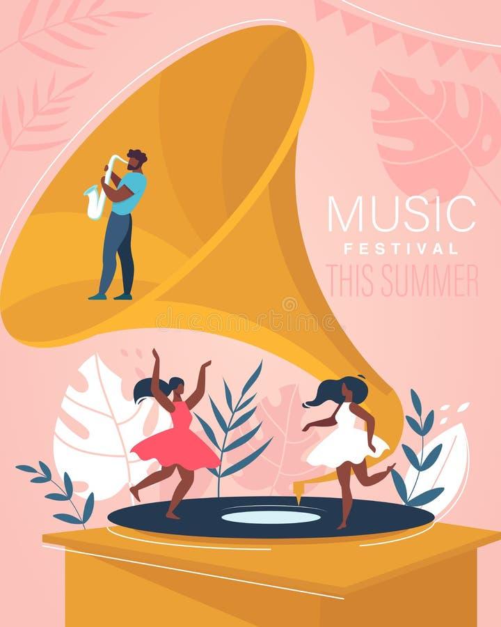 Insegna di festival di estate di musica Concerto musicale illustrazione di stock