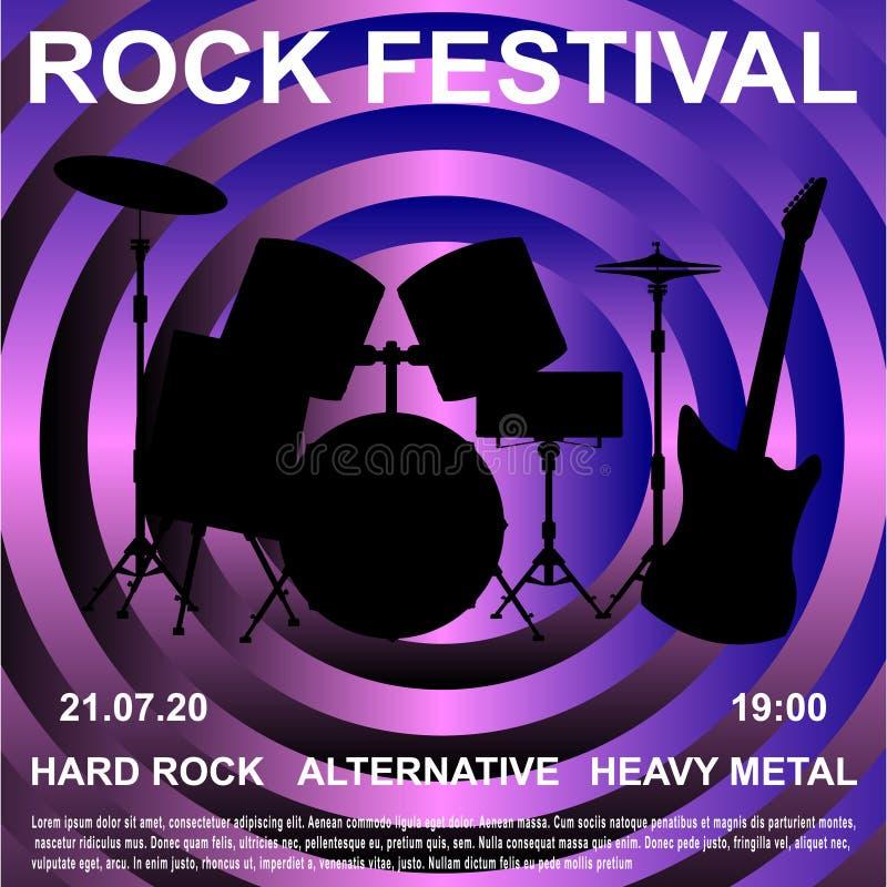 Insegna di festival rock, manifesto royalty illustrazione gratis