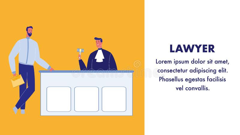 Insegna di Flat Vector Web dell'avvocato con lo spazio del testo illustrazione di stock