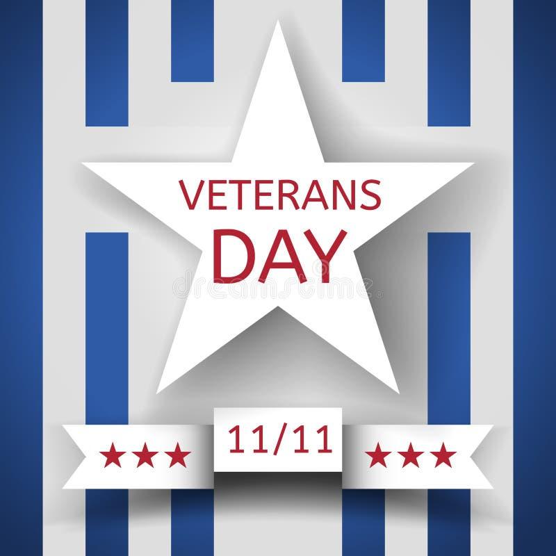 Insegna di giornata dei veterani con una stella bianca e un nastro con data l'11 novembre sui precedenti con le bande blu e bianc illustrazione di stock