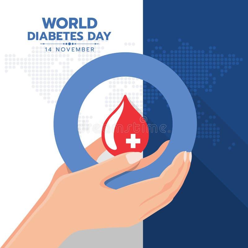 Insegna di giornata mondiale del diabete con acqua rosso sangue di goccia della tenuta della mano nel segno blu dell'anello del c illustrazione vettoriale