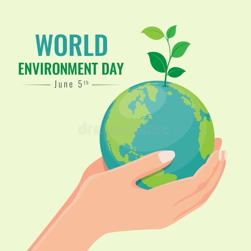 Insegna di Giornata mondiale dell'ambiente con la pianta di seme della tenuta della mano su progettazione di vettore del mondo de illustrazione di stock