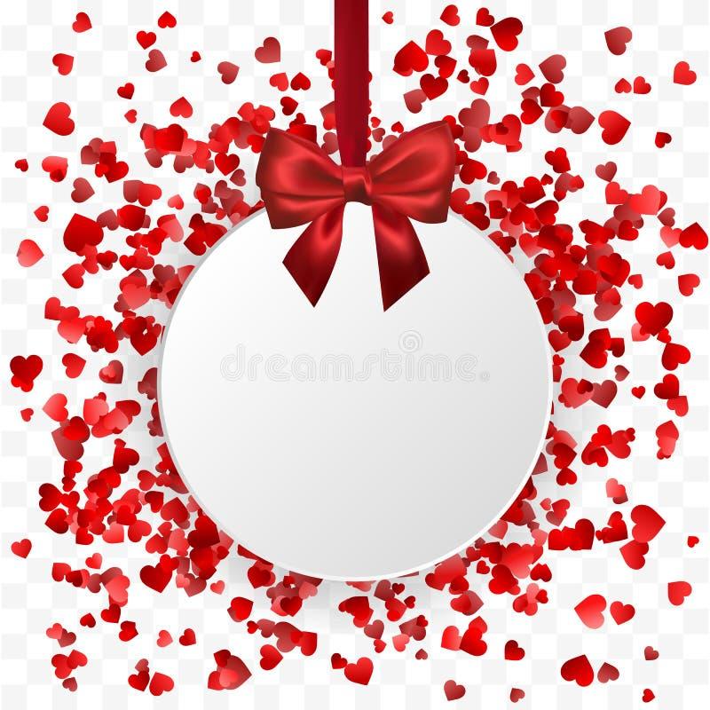 Insegna di giorno del ` s del biglietto di S. Valentino Insegna rotonda della struttura dei cuori che appende con il nastro rosso illustrazione vettoriale