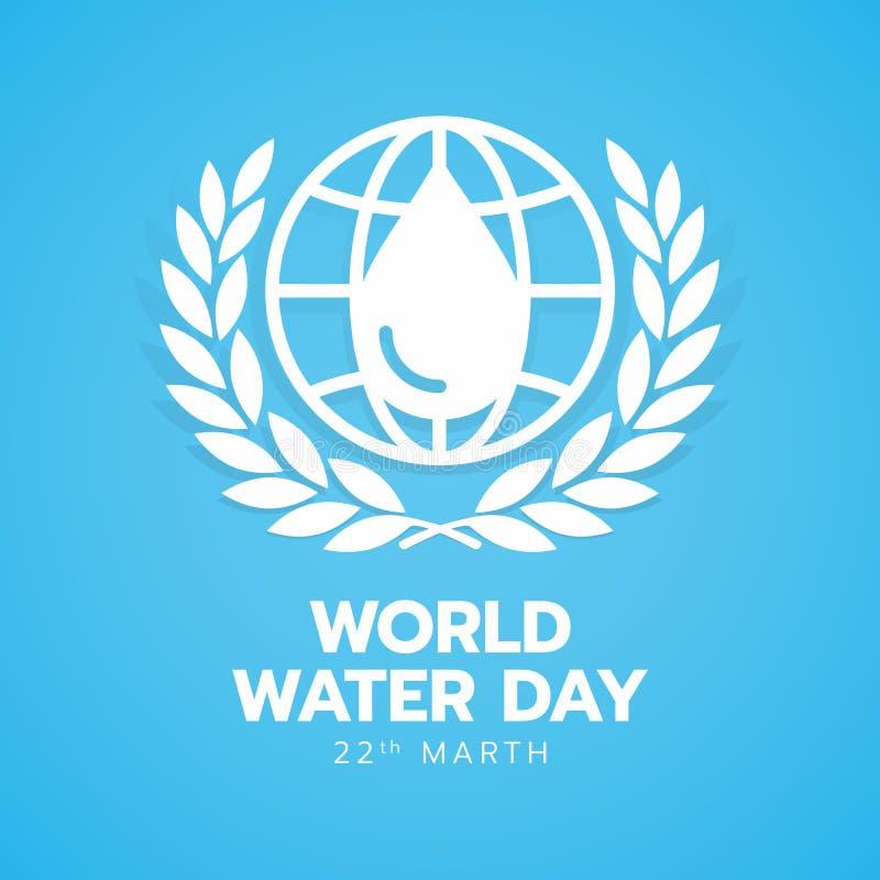 Insegna di giorno dell'acqua del mondo con acqua bianca di goccia nella linea segno della terra del cerchio e corona dell'alloro  royalty illustrazione gratis