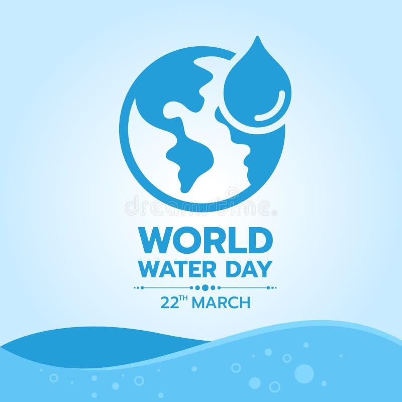 Insegna di giorno dell'acqua del mondo con l'icona dell'acqua e del mondo di goccia su progettazione di vettore del fondo dell'on illustrazione vettoriale