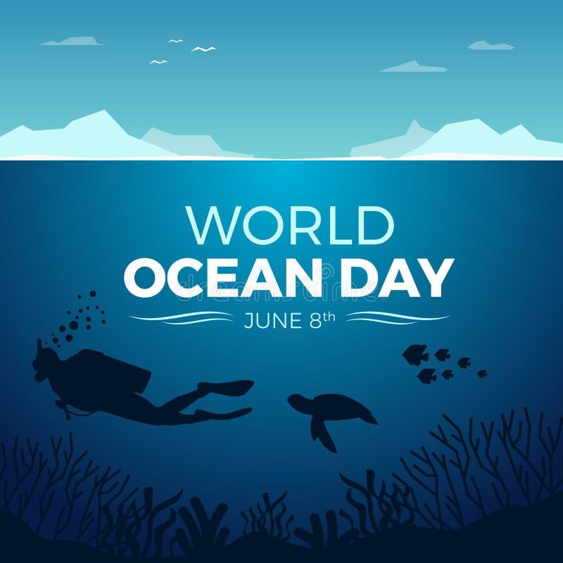 Insegna di giorno dell'oceano del mondo con immersione subacquea nell'ambito della progettazione di corallo dell'oceano e del pes illustrazione vettoriale