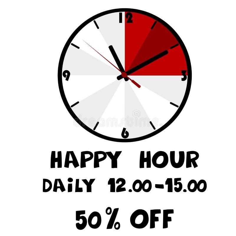 Insegna di happy hour illustrazione di stock