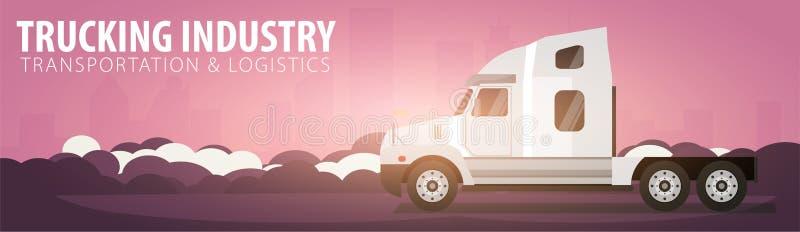 Insegna di industria di autotrasporti, logistico e consegna Semi camion Illustrazione di vettore royalty illustrazione gratis