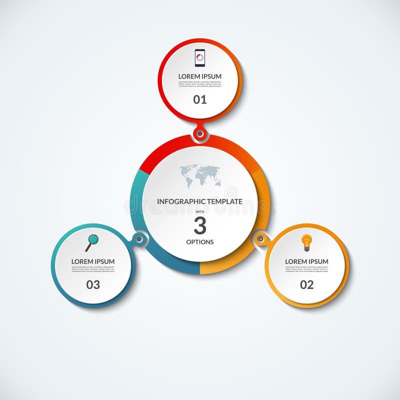 Insegna di Infographic con 3 opzioni illustrazione di stock