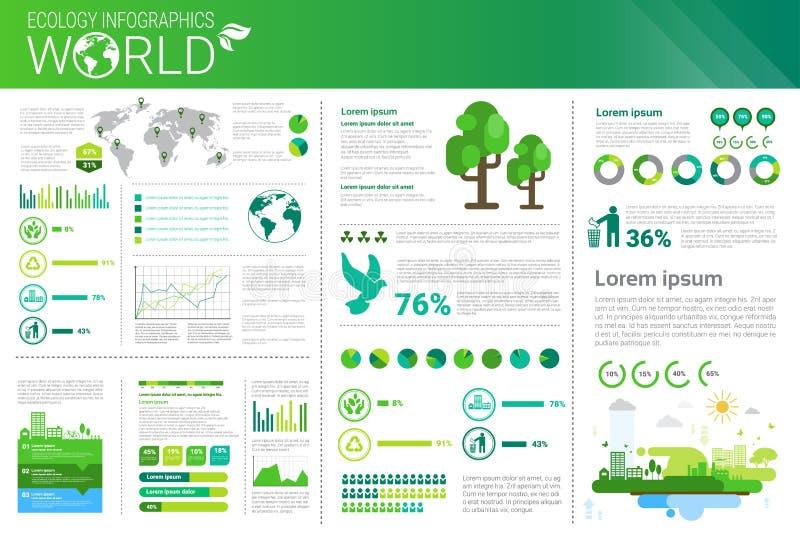 Insegna di Infographics di ecologia di energia di verde di protezione dell'ambiente del mondo con lo spazio della copia illustrazione di stock