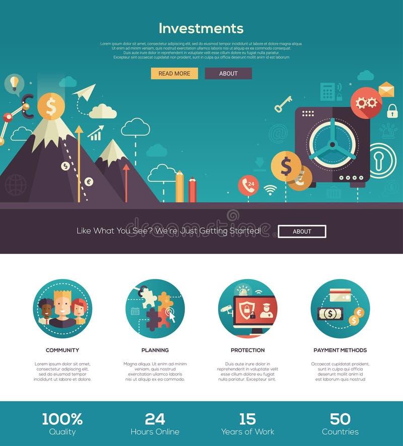 Insegna di intestazione piana del sito Web di investimenti di progettazione con gli elementi del webdesign royalty illustrazione gratis