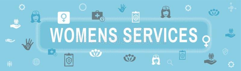 Insegna di intestazione stabilita di web dell'icona di servizi sanitari del ` s delle donne - De astratto royalty illustrazione gratis