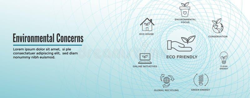 Insegna di intestazione di web delle icone di preoccupazioni ambientali con energia verde, la casa di eco e le iniziative della t illustrazione vettoriale
