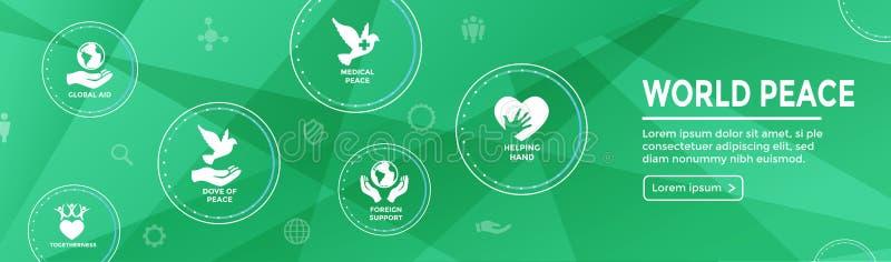 Insegna di intestazione di web di pace di mondo con il ico della mano e del cuore del globo della colomba illustrazione di stock