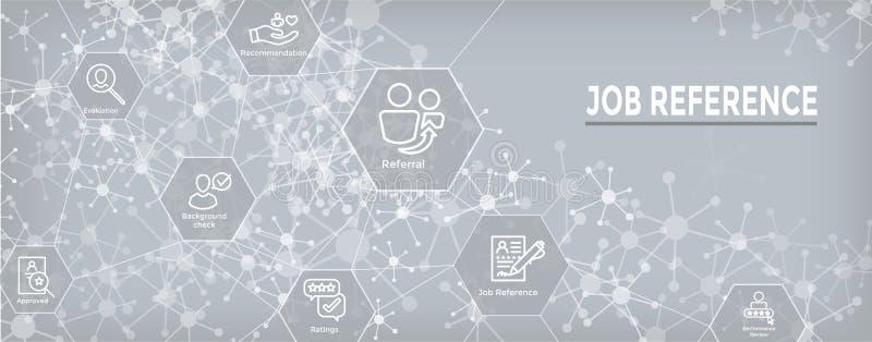 Insegna di intestazione di web di riferimento di lavoro di rinvio ed insieme dell'icona illustrazione vettoriale