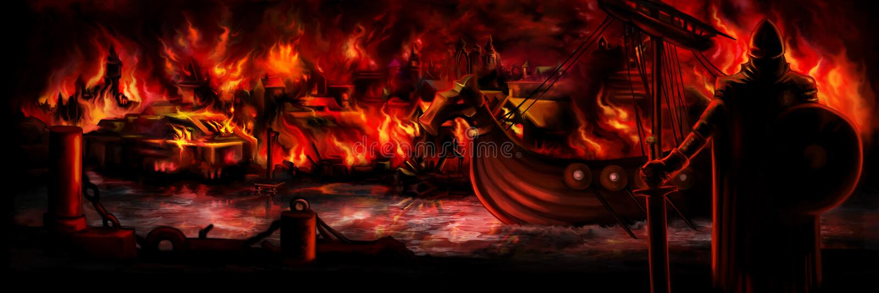 Insegna di invasione di Viking immagine stock