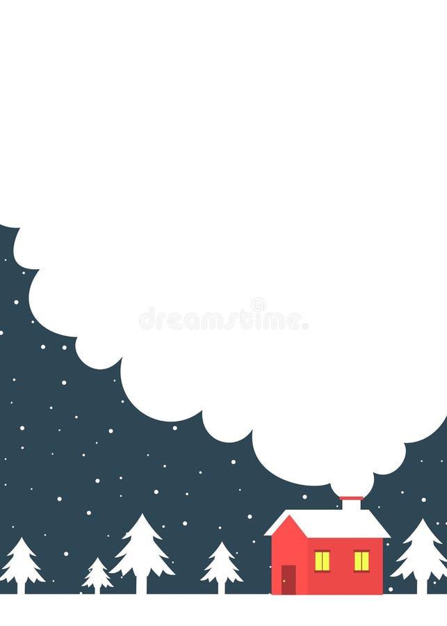Insegna di inverno con gli alberi di un annuncio di casetta illustrazione di stock