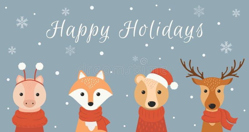 Insegna di inverno con gli animali svegli: cervi, volpe, orso, porcellino Buon Natale e buon anno Illustrazione di vettore royalty illustrazione gratis