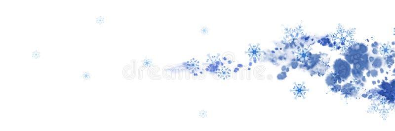 Insegna di inverno con i fiocchi di neve e l'onda blu Illustrazione dipinta a mano per il confine di Buon Natale e del buon anno illustrazione vettoriale