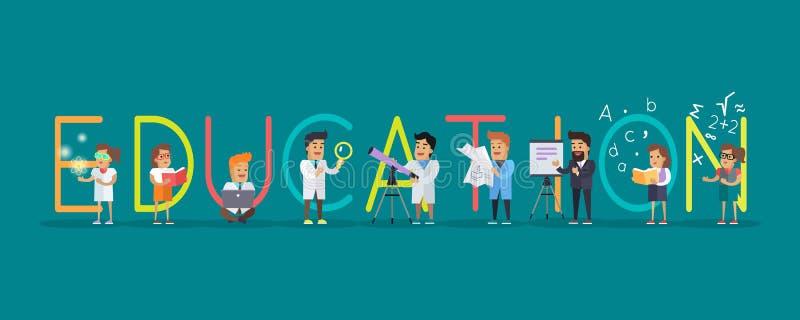 Insegna di istruzione Alfabeto di scienza illustrazione vettoriale