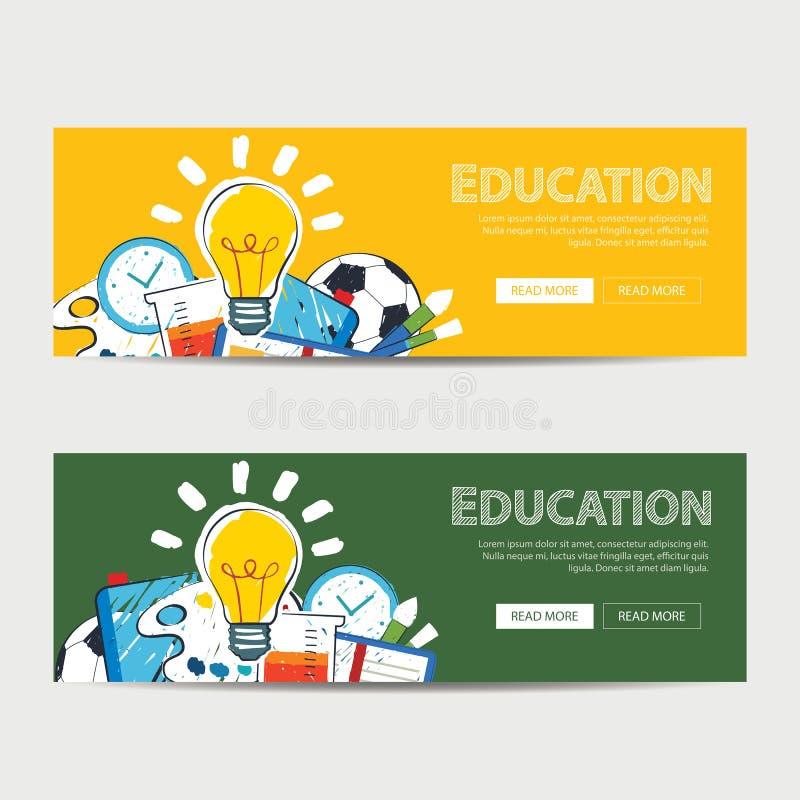 Insegna di istruzione e di nuovo al modello del fondo della scuola illustrazione di stock