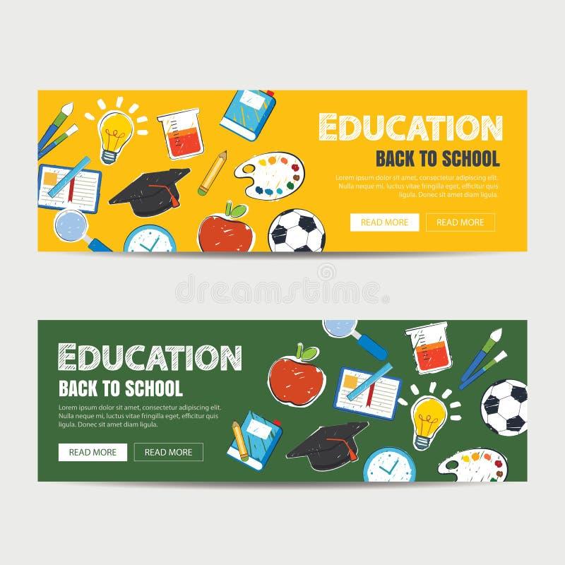 Insegna di istruzione e di nuovo al modello del fondo della scuola royalty illustrazione gratis