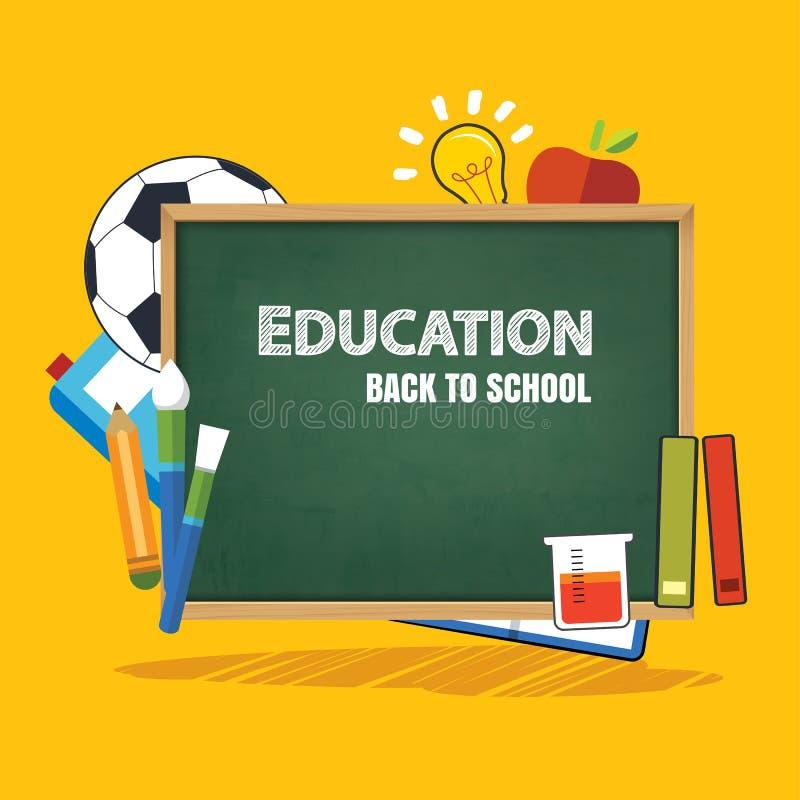 Insegna di istruzione e di nuovo al modello del fondo della scuola illustrazione vettoriale