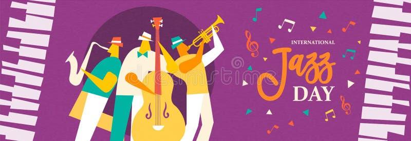 Insegna di Jazz Day della banda in tensione nell'evento di concerto illustrazione vettoriale