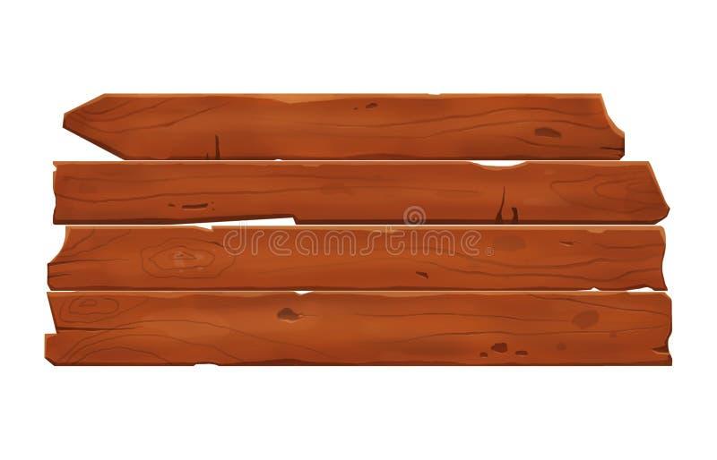 Insegna di legno con la plancia di legno del disegno isolata illustrazione vettoriale