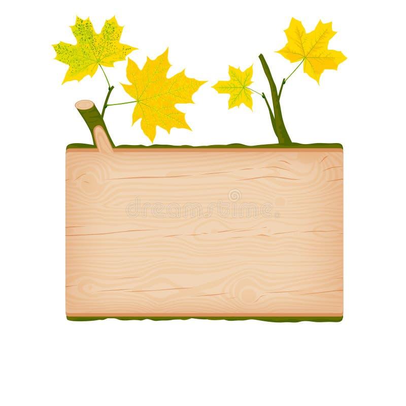 Insegna di legno del ceppo dell'acero con le foglie di autunno gialle illustrazione di stock